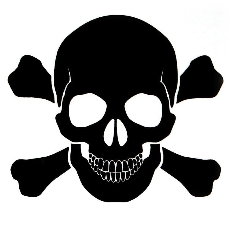 OPSGEAR Black Skull and Bones Decal   3 x 3 OPSGEAR Novelty 800x800