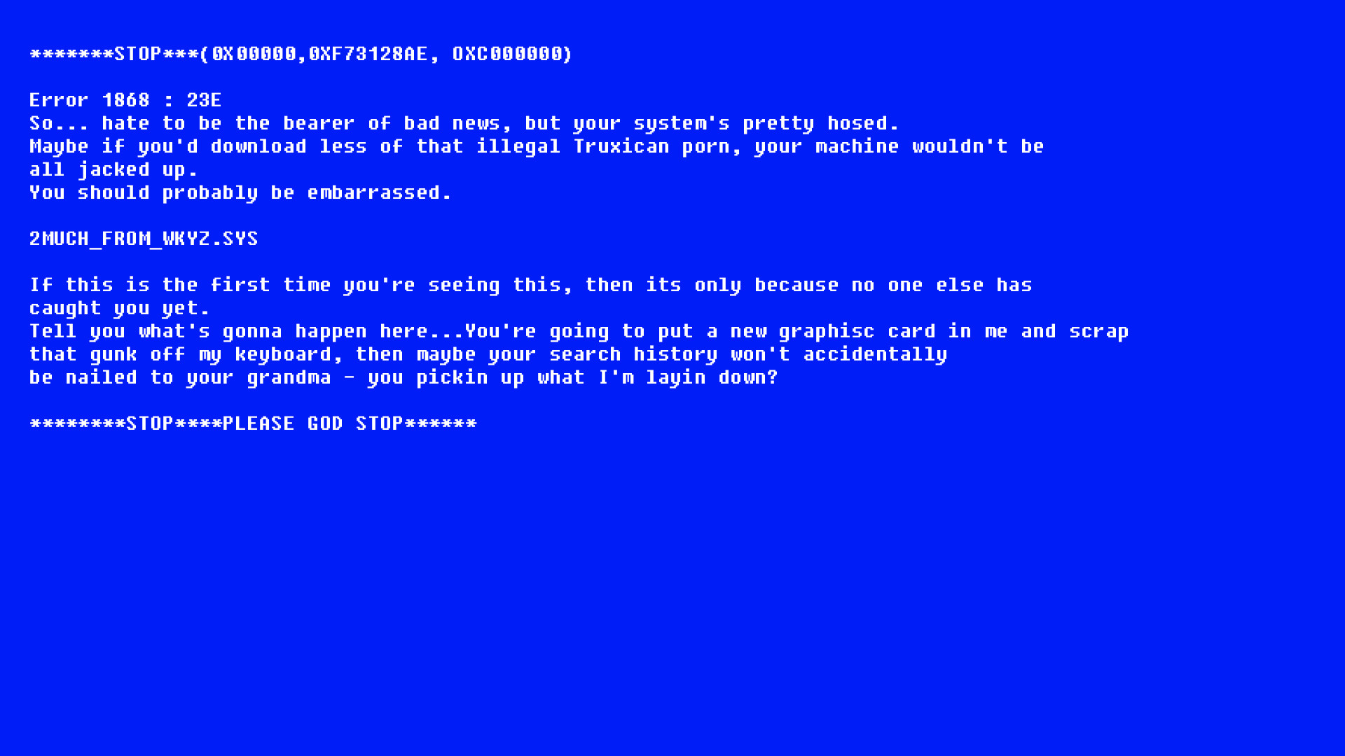 made the blue screen easteregg into a wallpaper iimgurcom 1920x1080