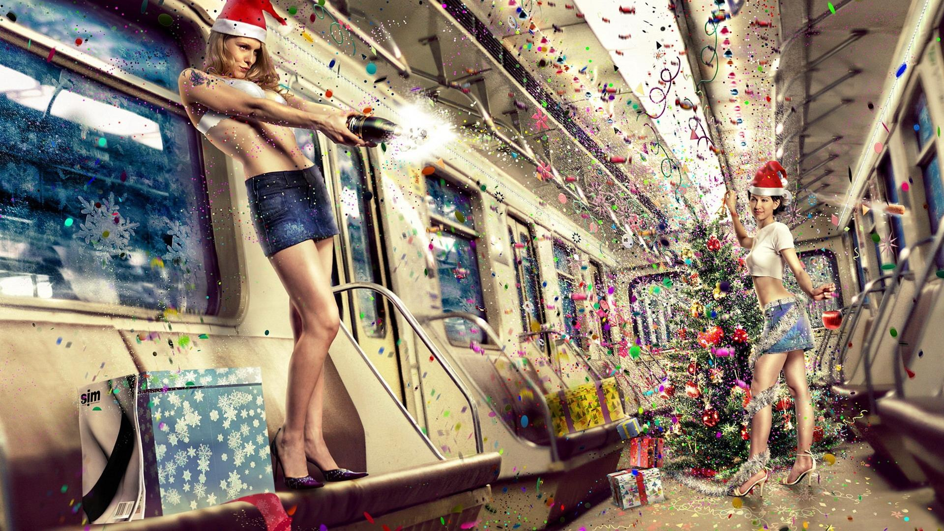 Funny Christmas Santa Girls HD Wallpaper of Funny   hdwallpaper2013 1920x1080