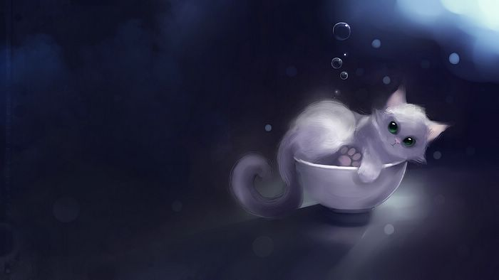 White Kitty in a Bowl Cute Kitty Painting Wallpaper 14   Wallcoonet 700x394