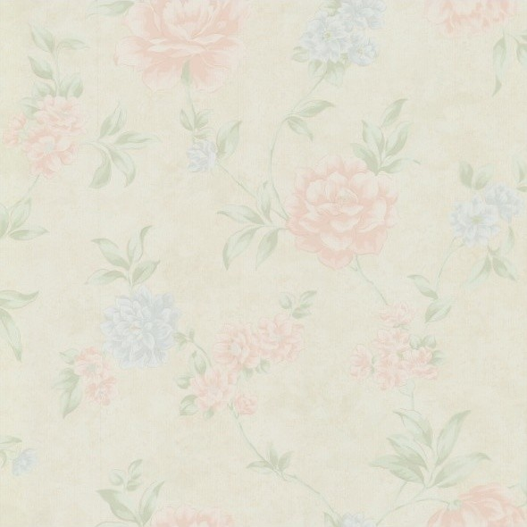 Floral Wallpaper Pastels Beige Pinkblue   Transitional   Wallpaper 590x590