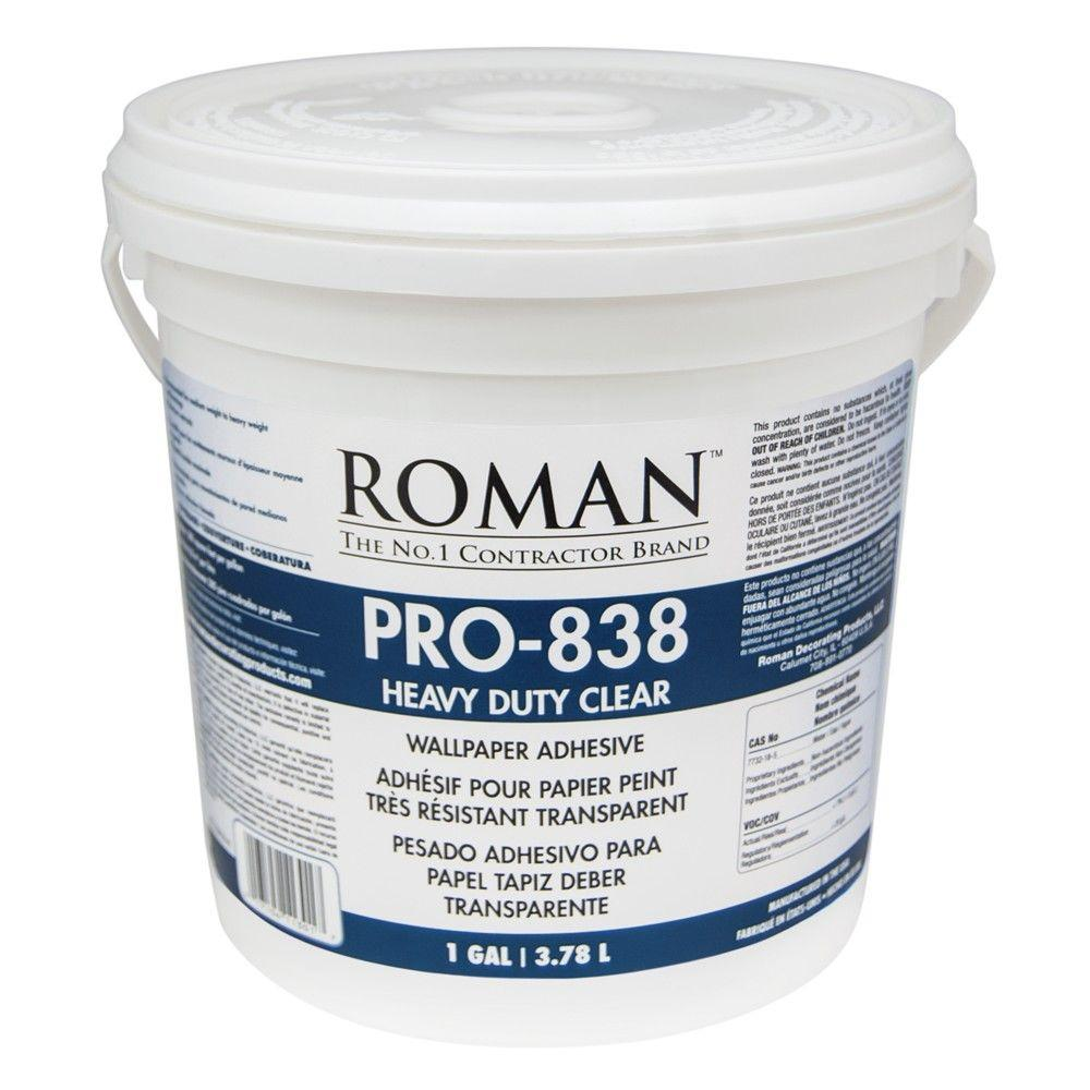 Roman PRO 838 1 gal Heavy Duty Clear Wallcovering Adhesive 011301 1000x1000