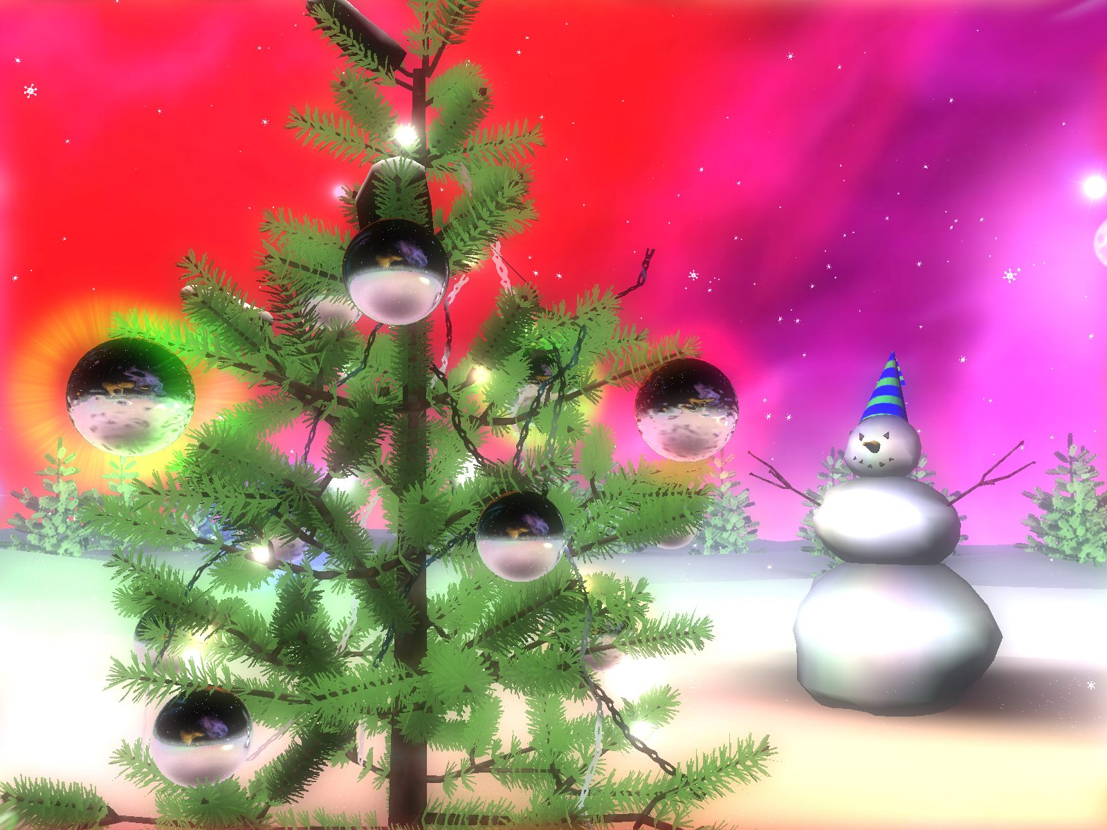 3D Christmas Space Screensaver Christmas on the other planets 1600x1200