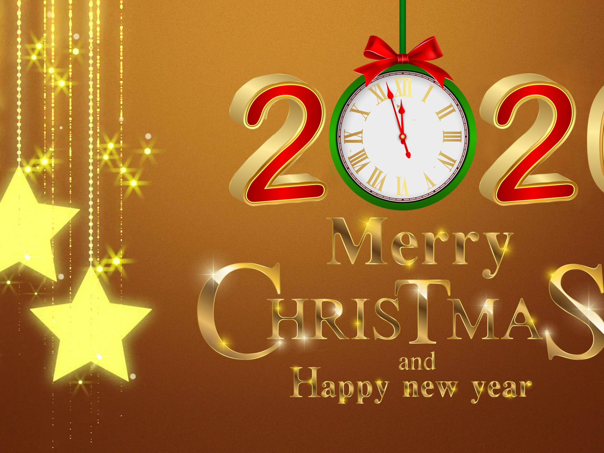 download Merry Christmas And Happy New Year 2020 Gold 4k 1920x1440