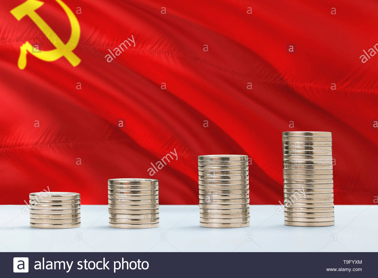 Soviet Union flag waving in the background with rows of coins for 1300x956