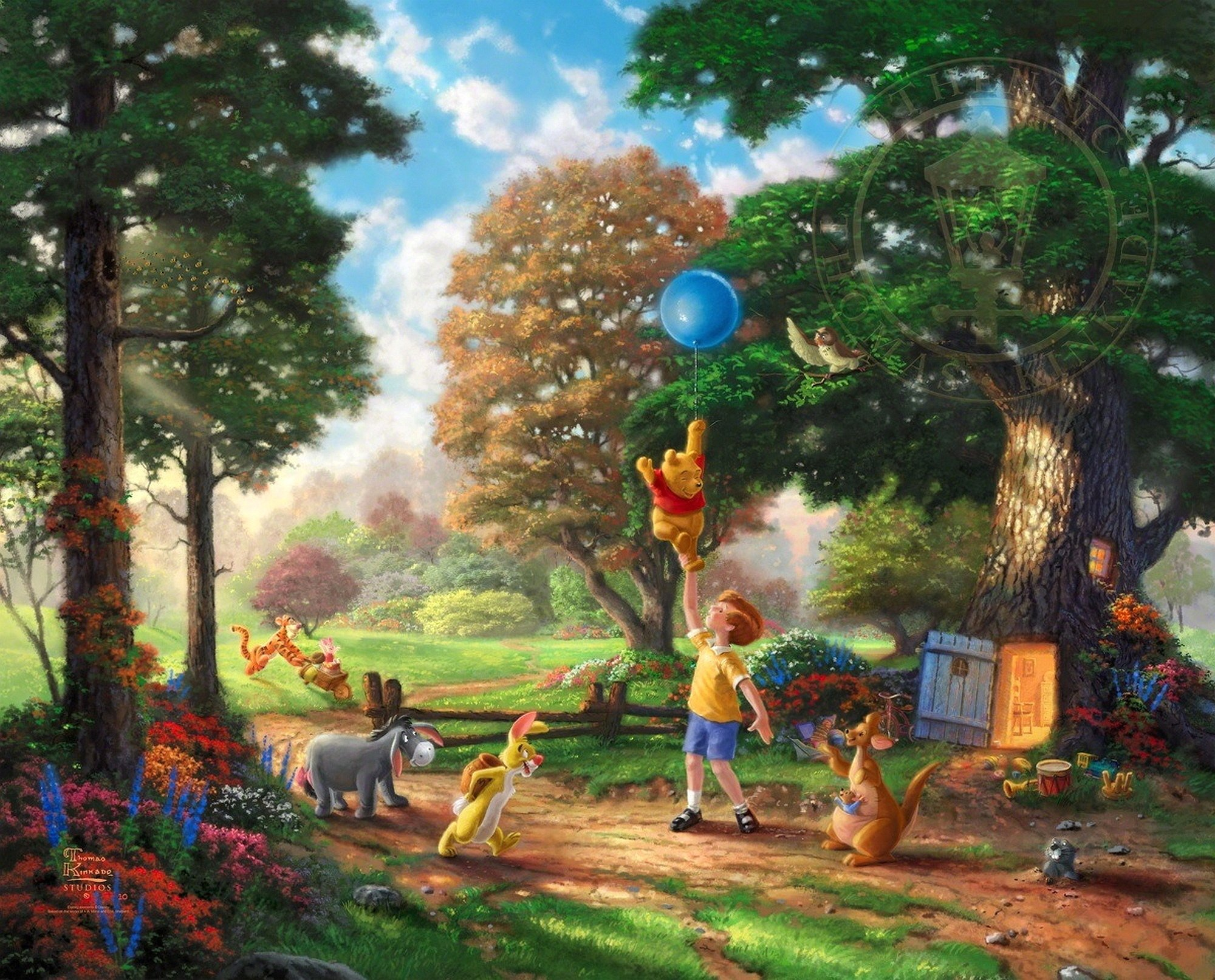 Winnie pooh thomas kinkade family disney fantasy wallpaper 2000x1613 2000x1613