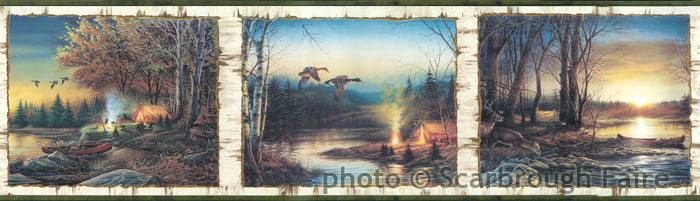 Terry Redlin Lodge Wallpaper Border LL50001B Lake Cabin 700x201