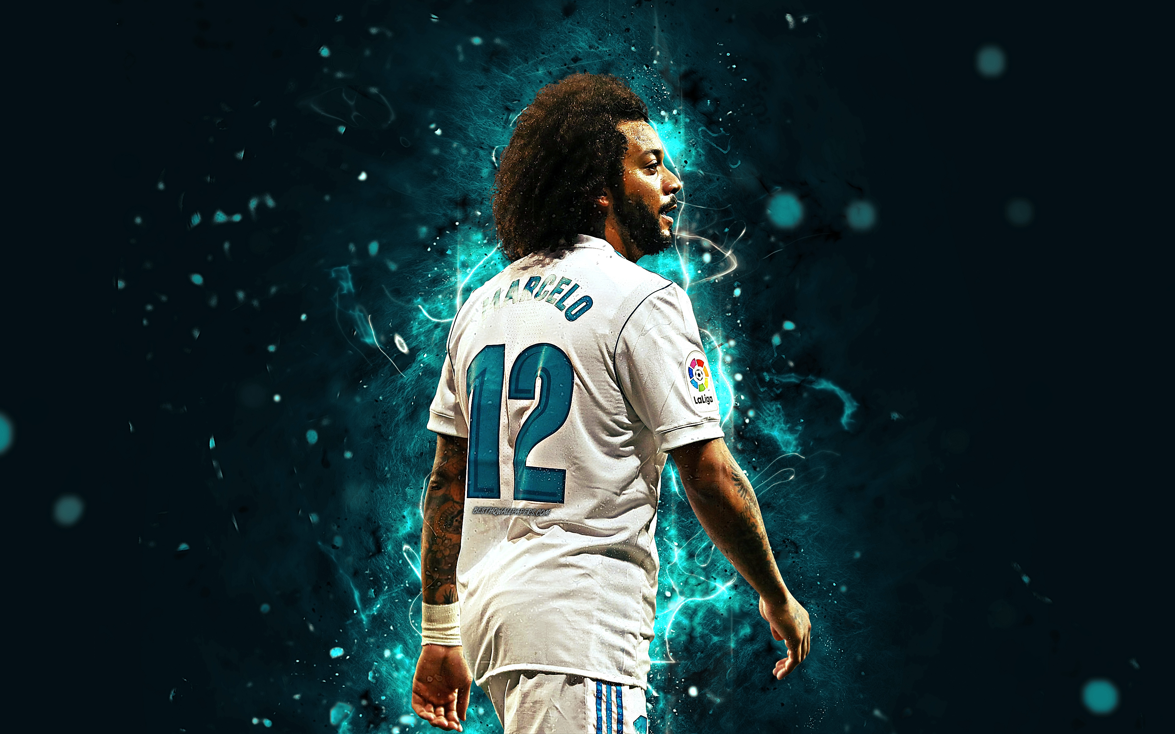 Download wallpapers Marcelo 4k football stars neon lights Real 3840x2400