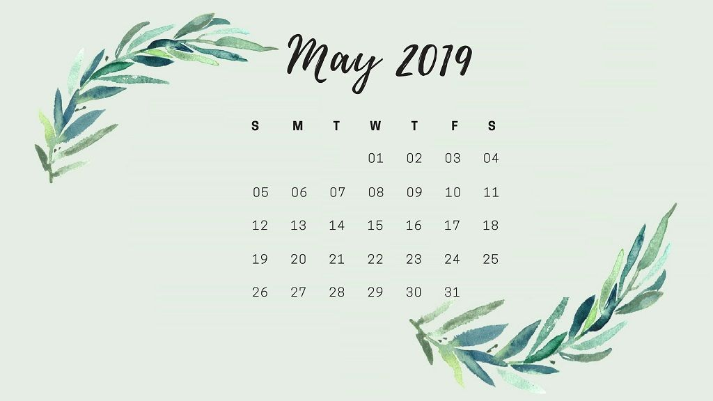 May 2019 Desktop Calendar Wallpaper Cute Floral Printable May 1024x576