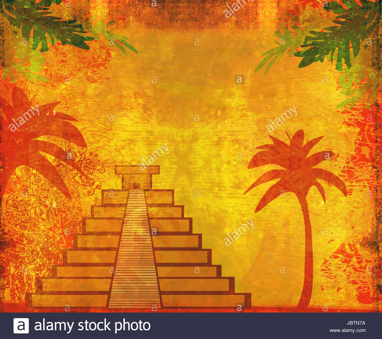 Mayan Pyramid Chichen Itza Mexico   grunge abstract background 1300x1154