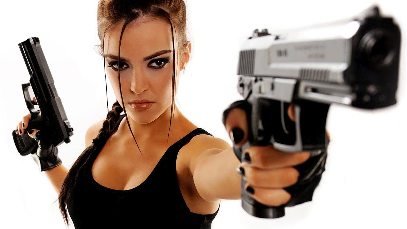 hd girls wallpapers beautiful sexy girls with guns wallpapers girl gun 1600x900