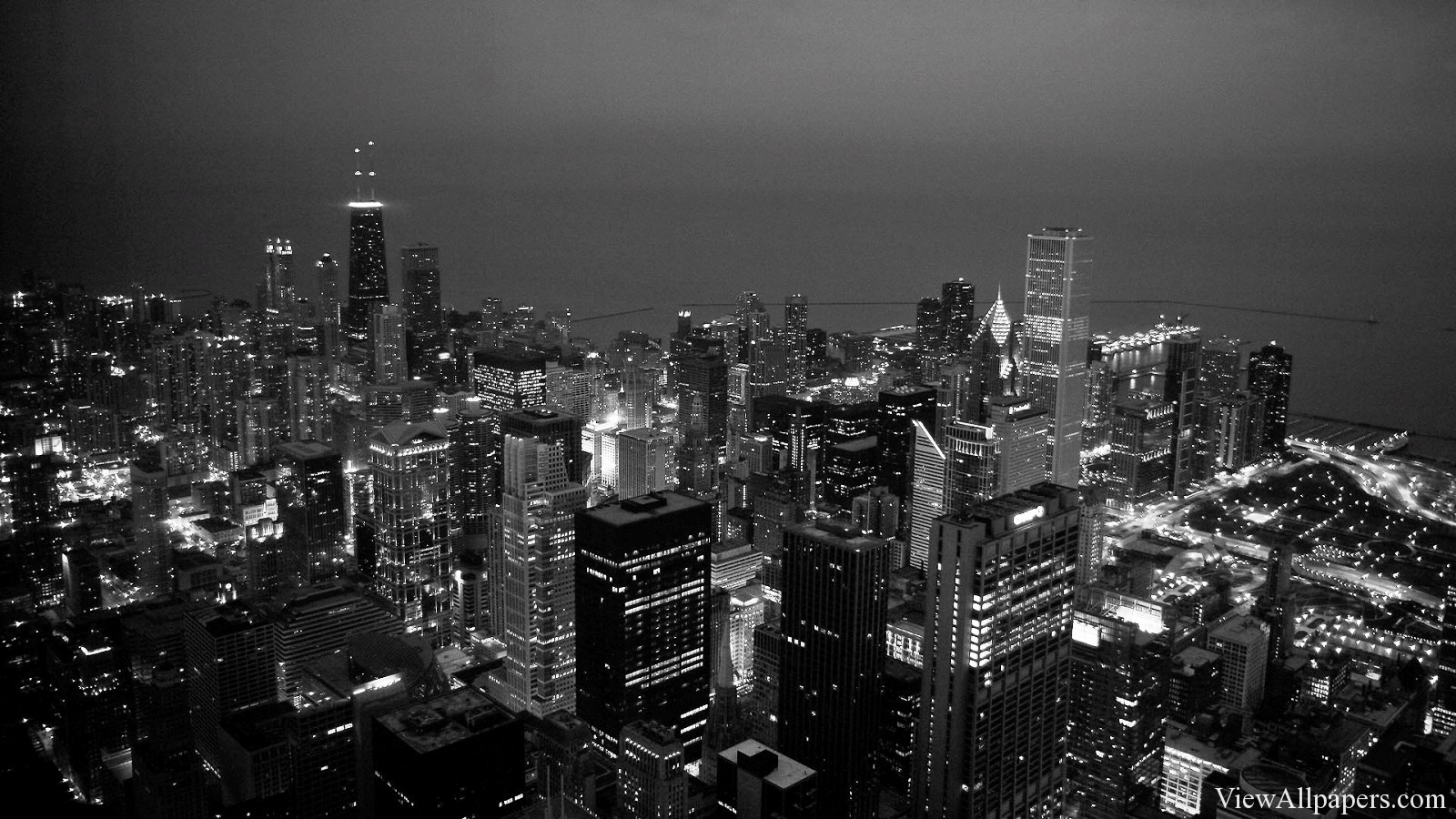 Black And White City HD Wallpaper For PC computers desktop background 1600x900