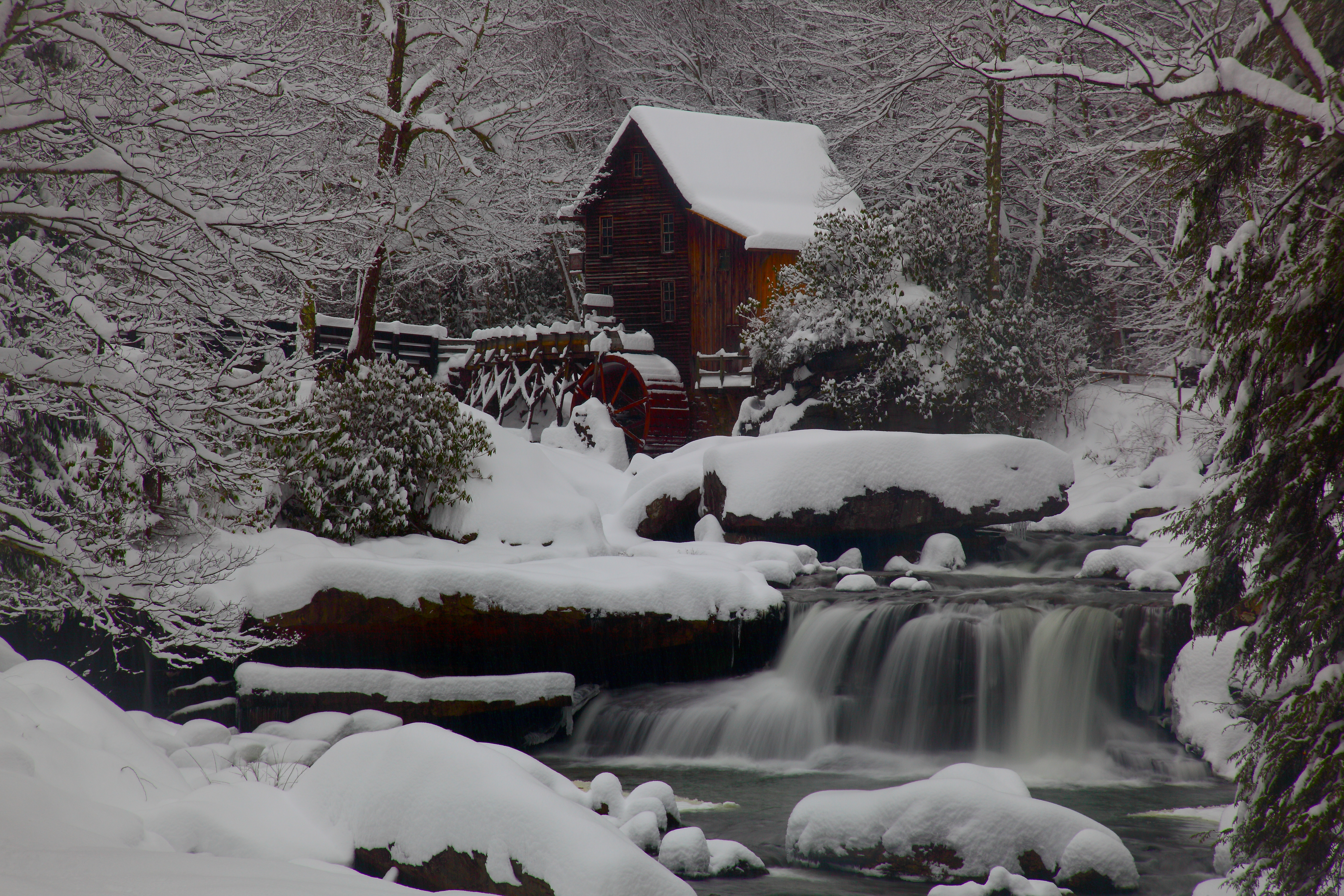 Wv Grist mill Waterfall Winter Snow Waterfalls Nature Pictures 5616x3744
