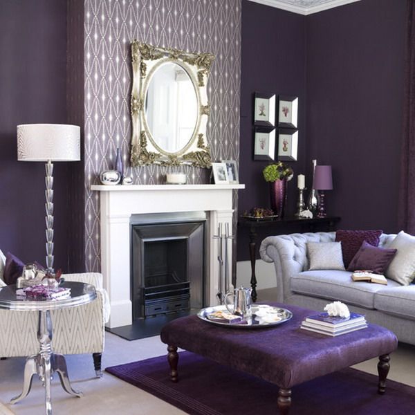 living room design with decorative purple wallpaper is part of purple 600x600