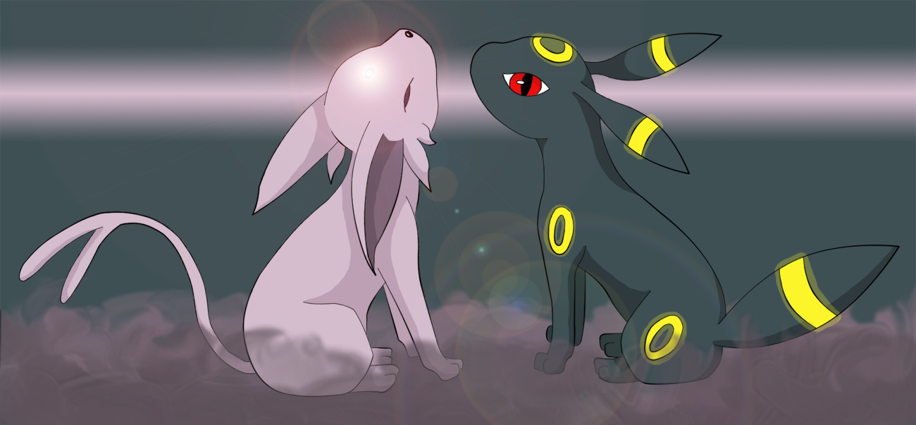 Umbreon and Espeon by Myklor 1300x603
