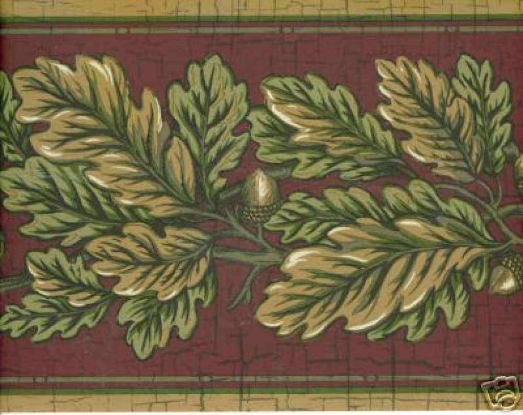Country lodge rustic leaves acorn wallpaper border ebay 1024x814
