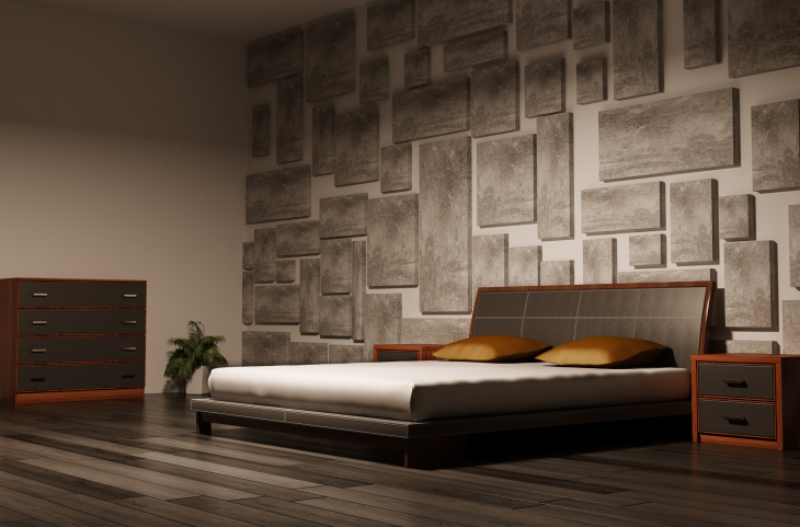 Free Download Masculine Bedroom Design With Textured Wall Dark