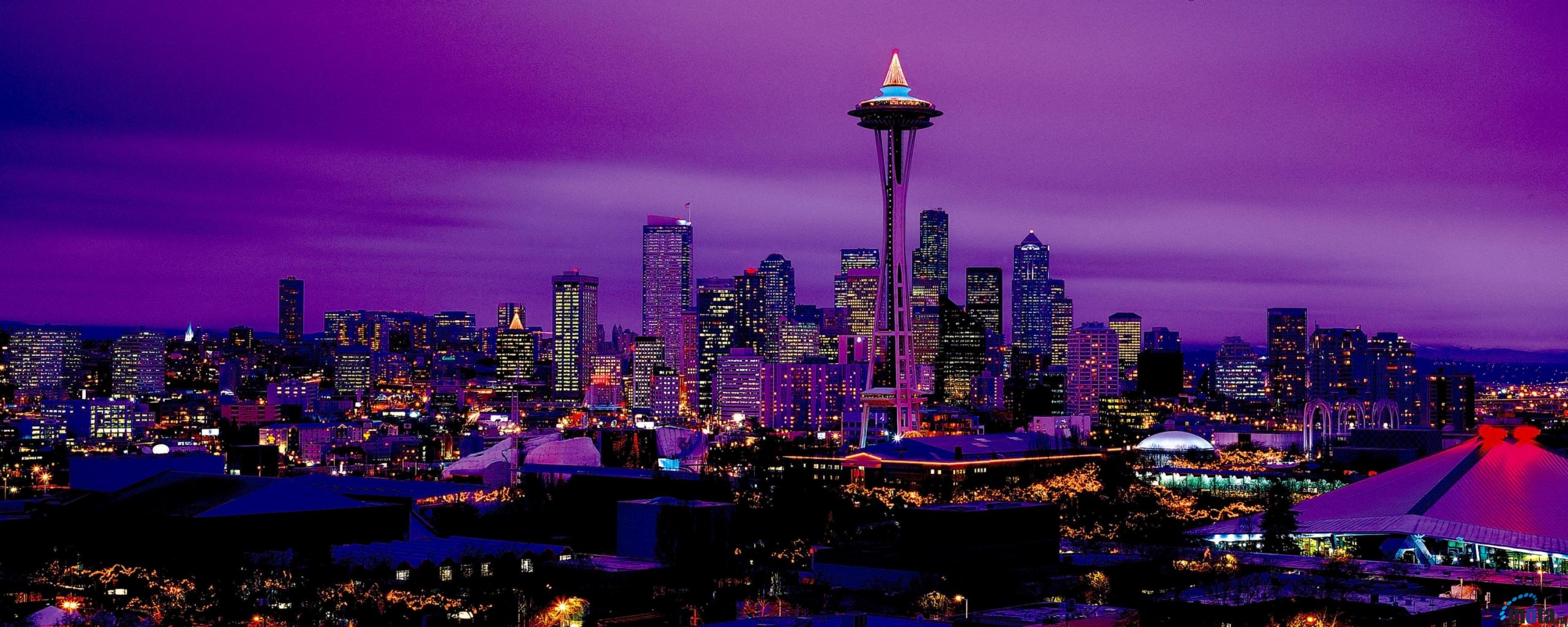 Wallpaper Seattle by night Washington USA 2560 x 1024 Dual Monitor 2560x1024