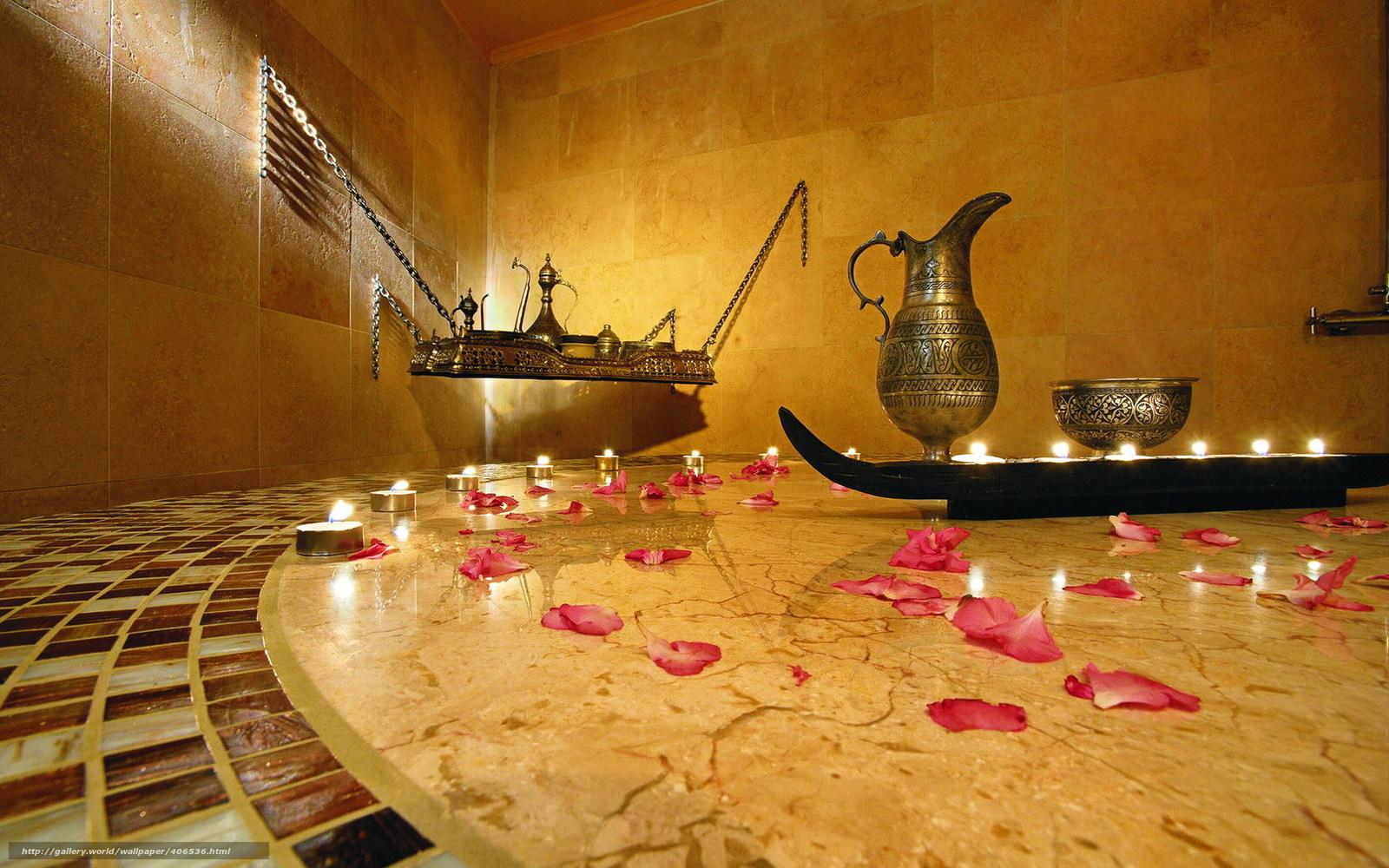 Download wallpaper spa tray Candles Petals desktop wallpaper 1600x1000
