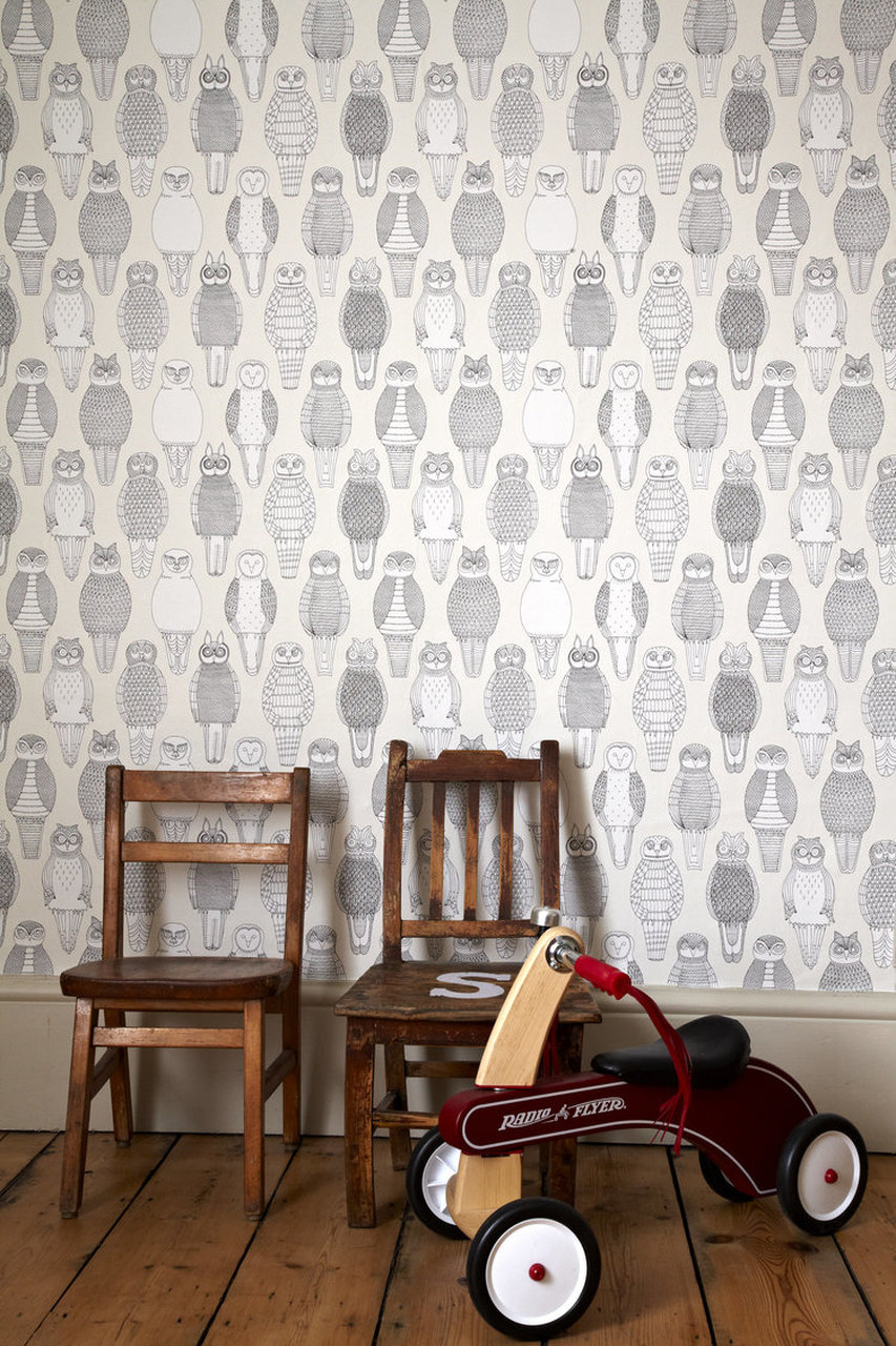 Owls of the British Isles   Covered Wallpaper 750x1125