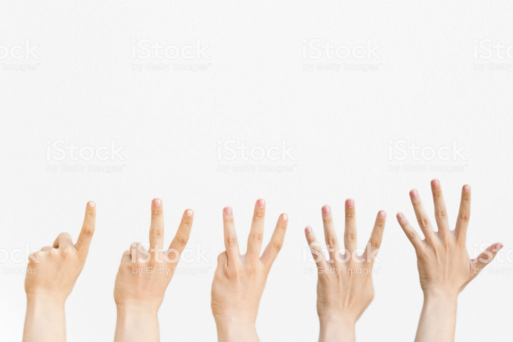 Male Hands Counting From One To Five Isolated On White Background 1024x682