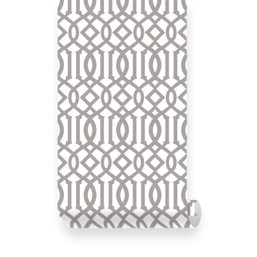 Large Imperial Trellis Pattern Grey PEEL STICK Repositionable Fabric 500x500
