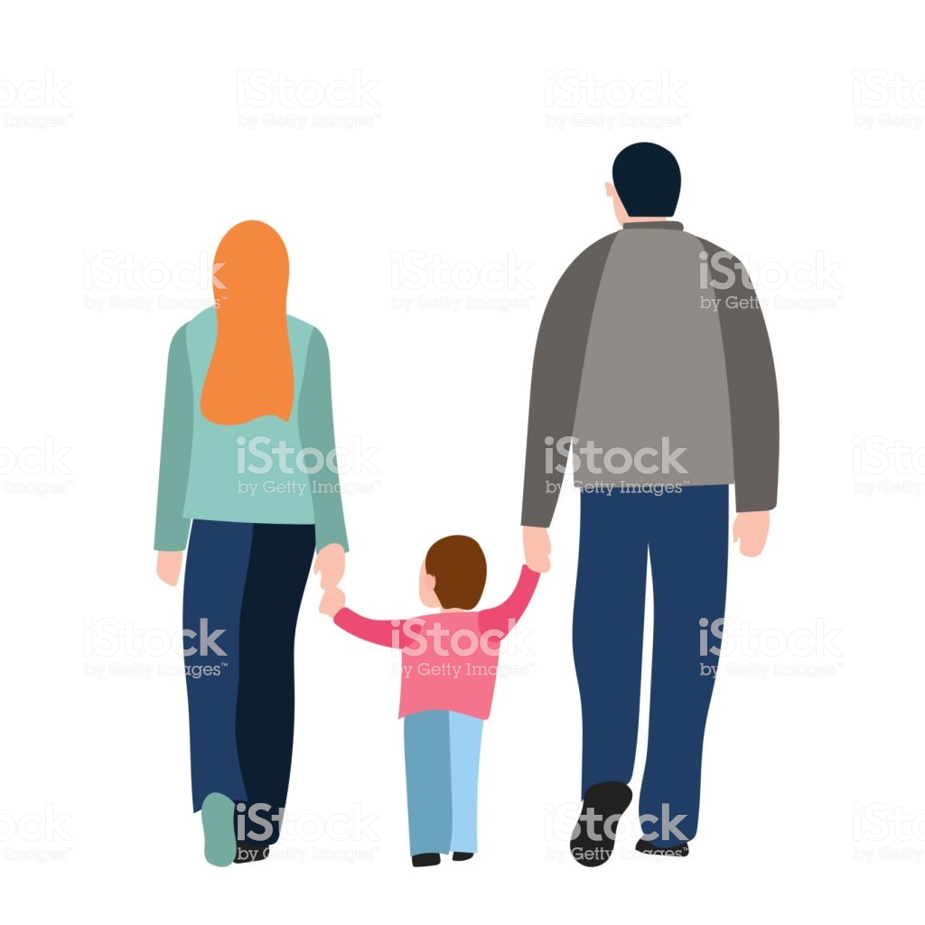 Back View Of Walking Parents Hold Kid Isolated Over White 1024x1024