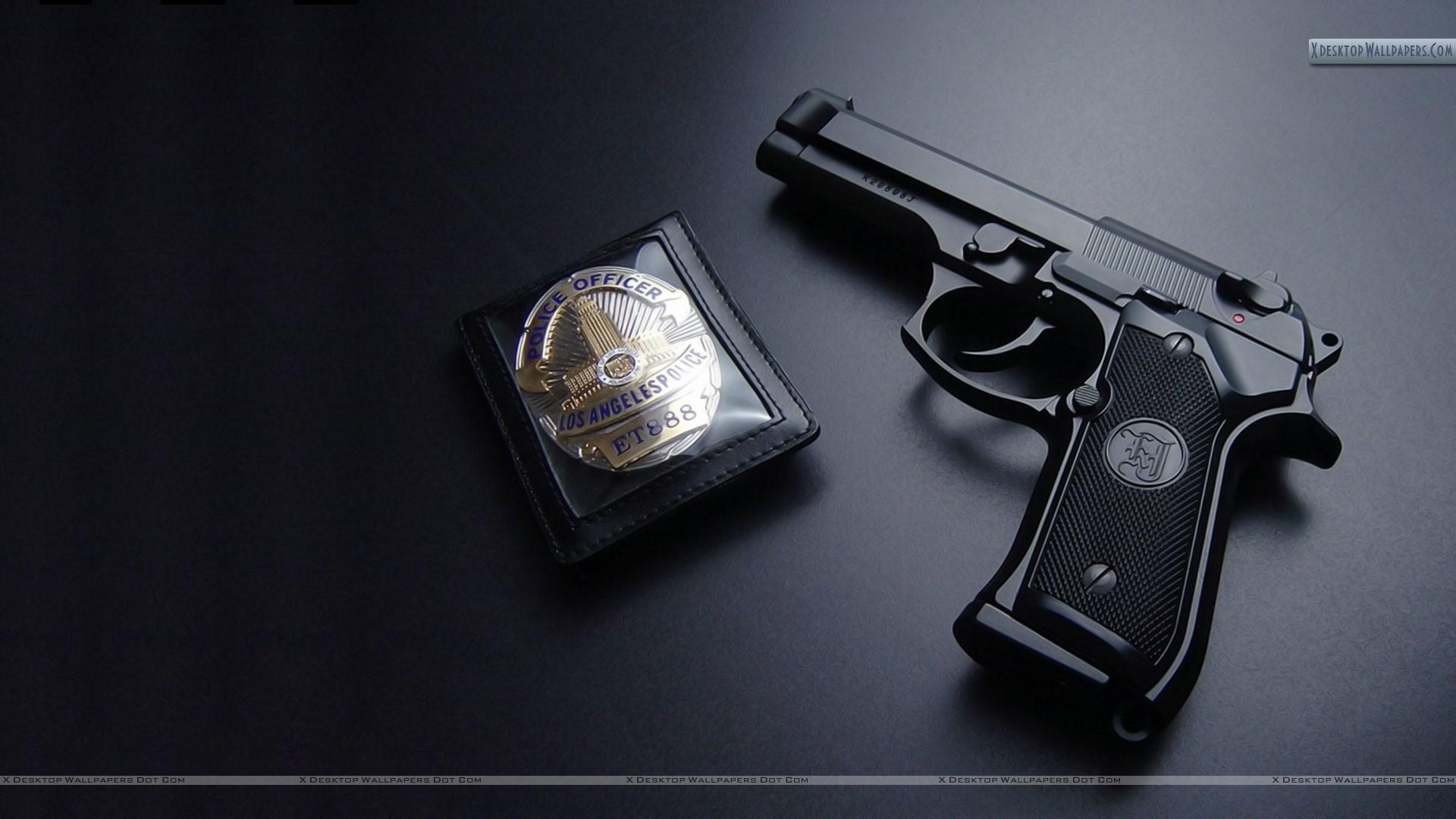 Los Angels Police Gun With Badge Wallpaper 1920x1080