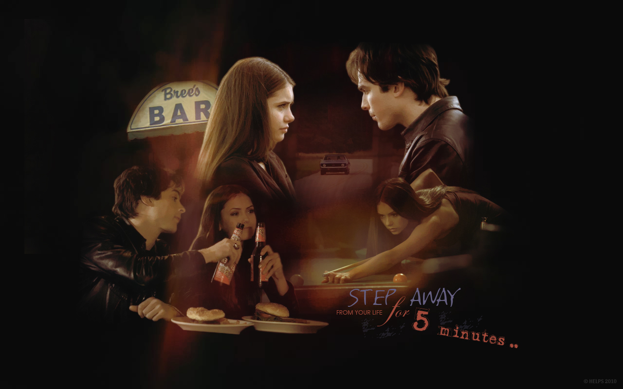 Damon amp Elena   The Vampire Diaries TV Show Wallpaper 1280x800