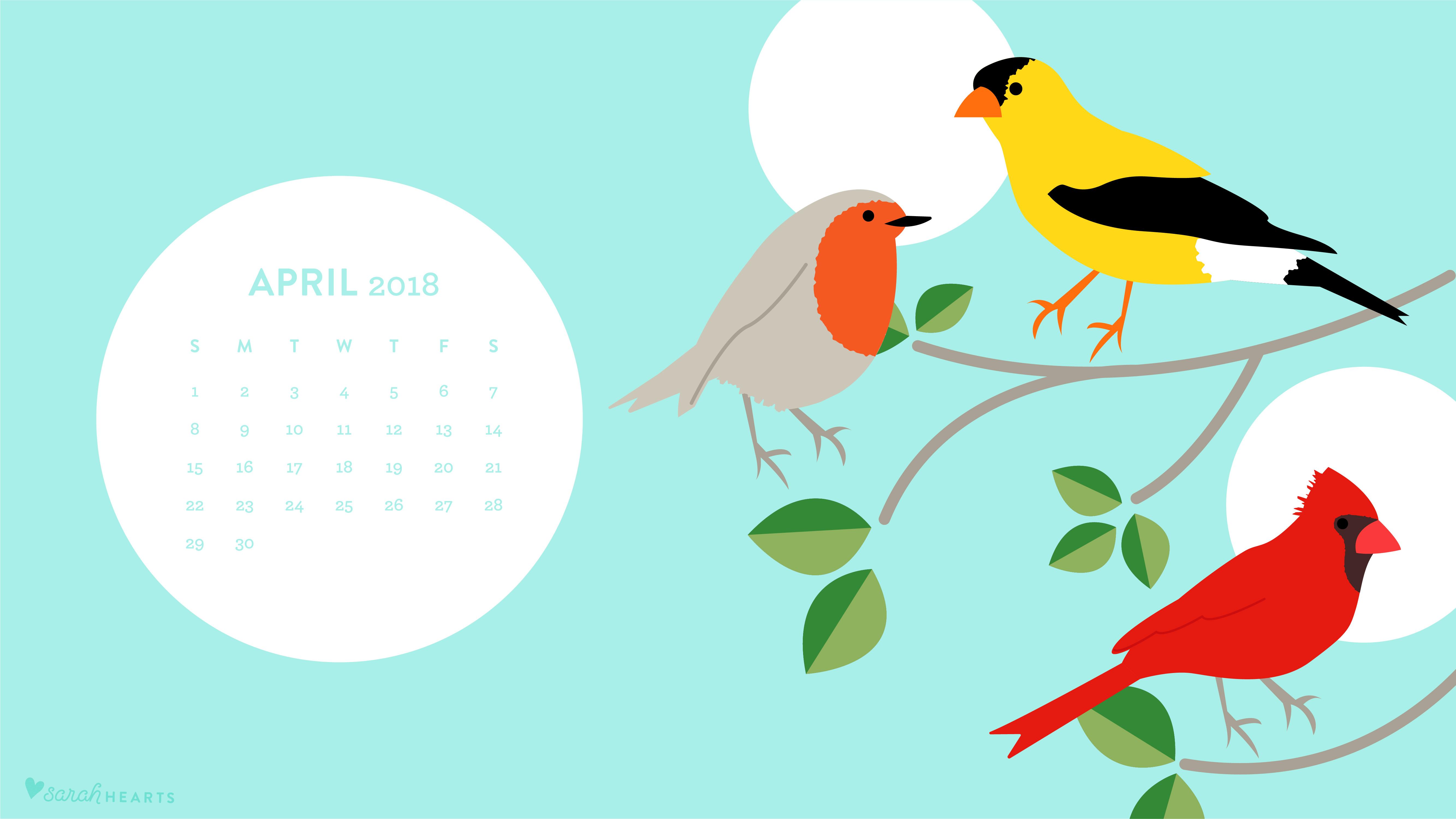 April 2018 Bird Calendar Wallpaper   Sarah Hearts 5334x3001