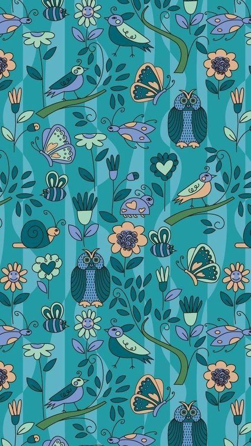 American Hippie Bohemian Pattern Design Wallpaper iPhone Blue 500x887