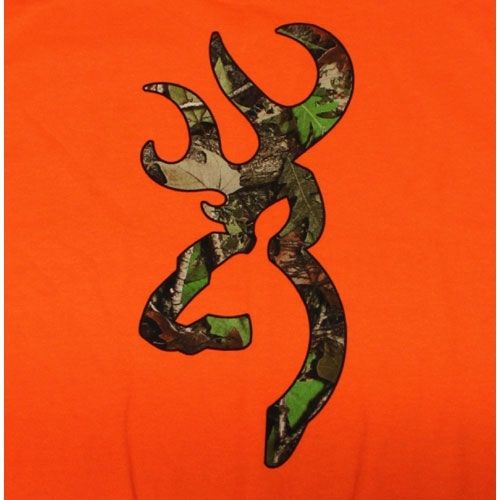Safety Orange Browning Camouflage Buckmark T Shirts Logo Color Camo 500x500