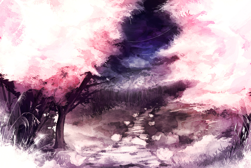 Anime Cherry Blossom Tree Wallpaper Images Pictures   Becuo 500x336