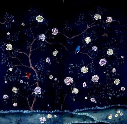 hand painted wallpaper Hand Painted Wallpaper CHINOISERIE 02 500x485