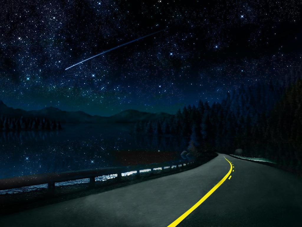 Beautiful Night Sky Road Wallpaper  yvt2 1024x768