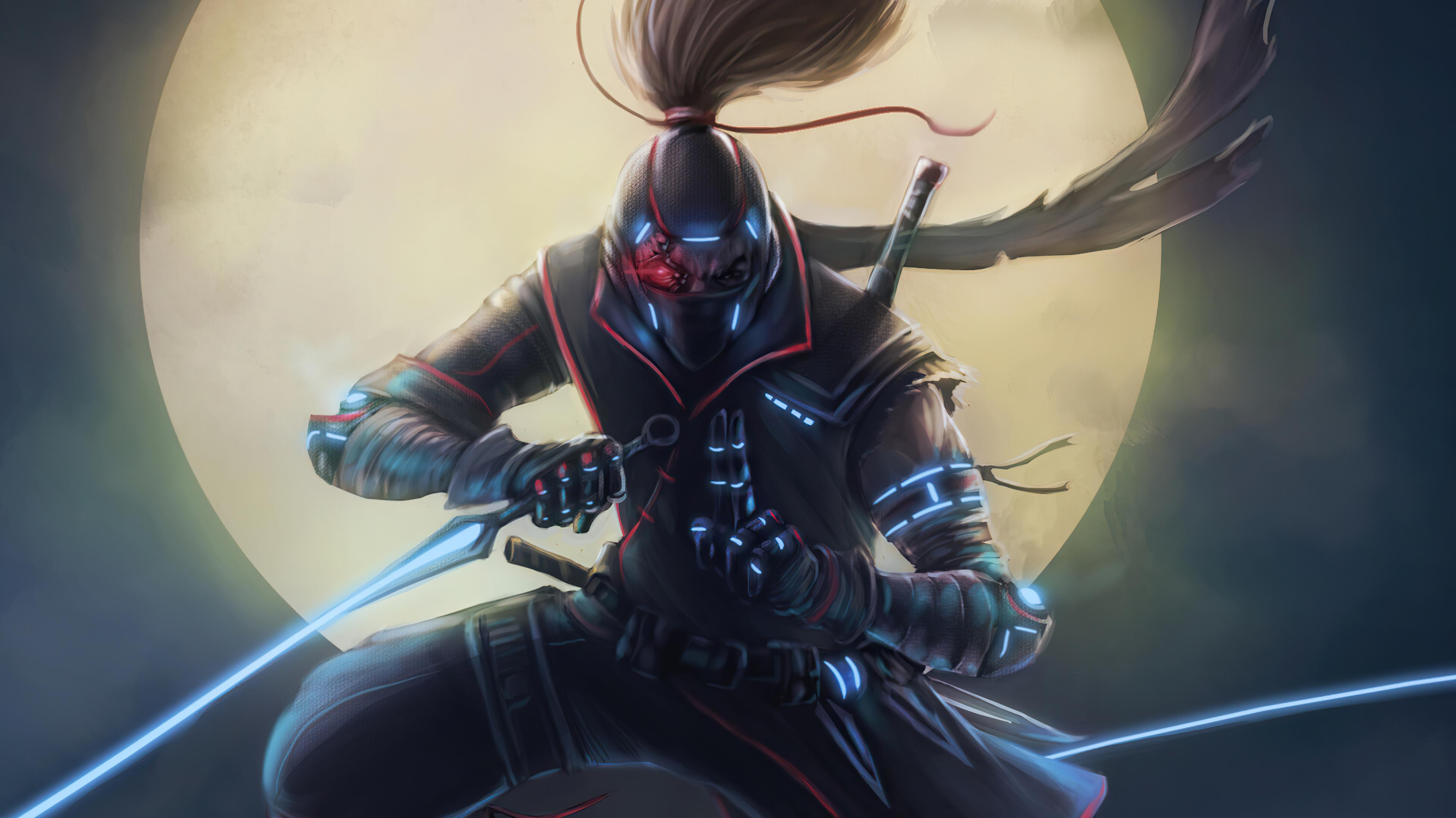 Cyberpunk Ninja Warrior Wallpaper HD Artist 4K Wallpapers Images 3840x2160