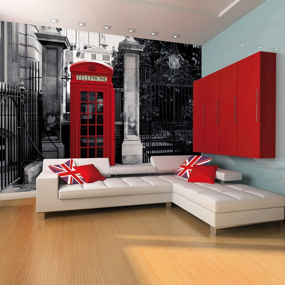 London Phone Booth Giant Wallpaper Mural Peters of Kensington 1000x1000