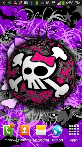 View bigger   3D Pink Girly Skull LWP for Android screenshot 288x512
