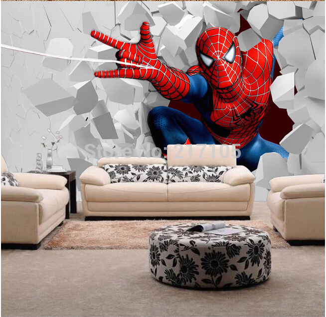 Custom children mural wallpaper spider man for children room baby room 654x635