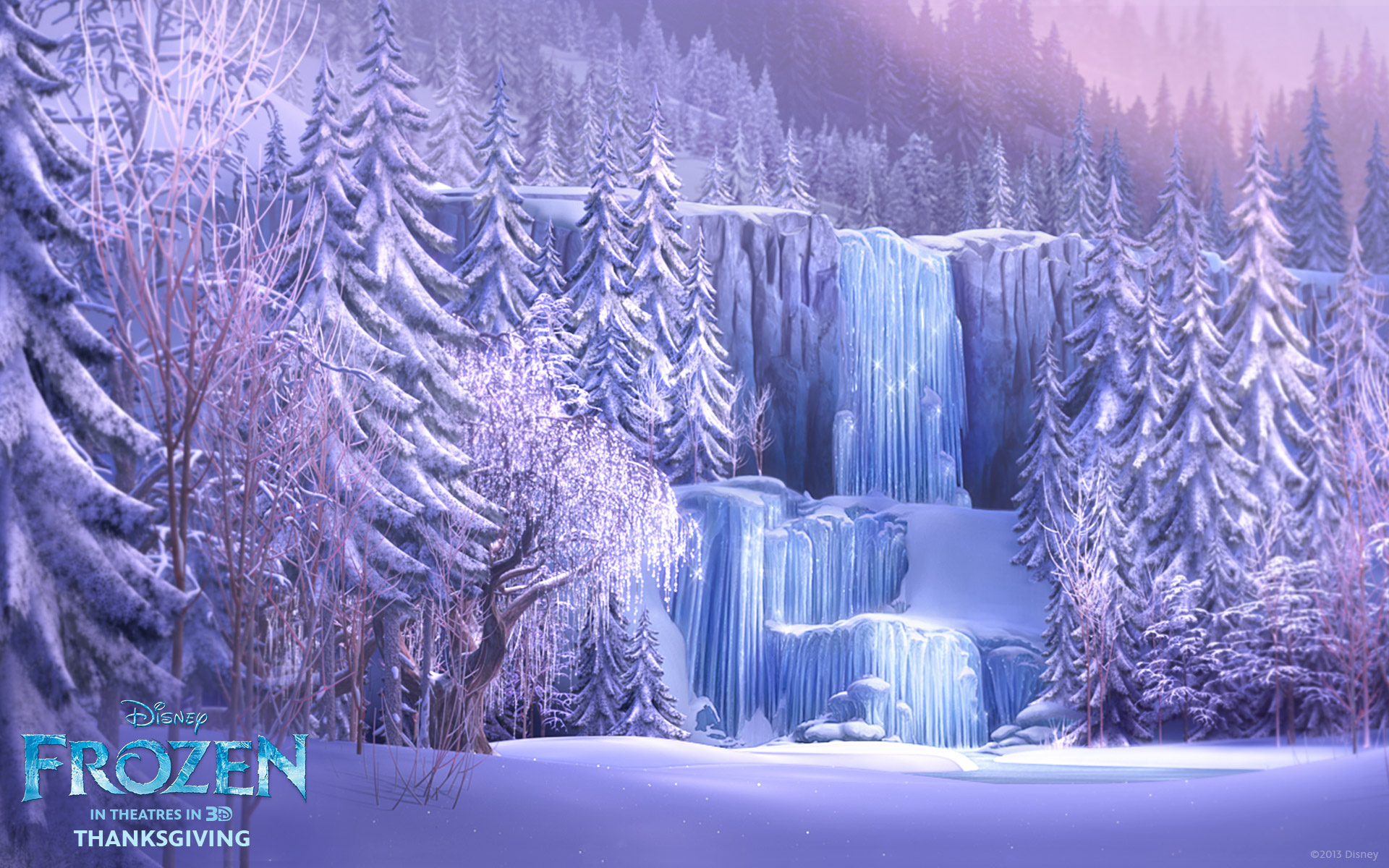 Frozen Waterfall from Disneys Frozen Desktop Wallpaper 1920x1200