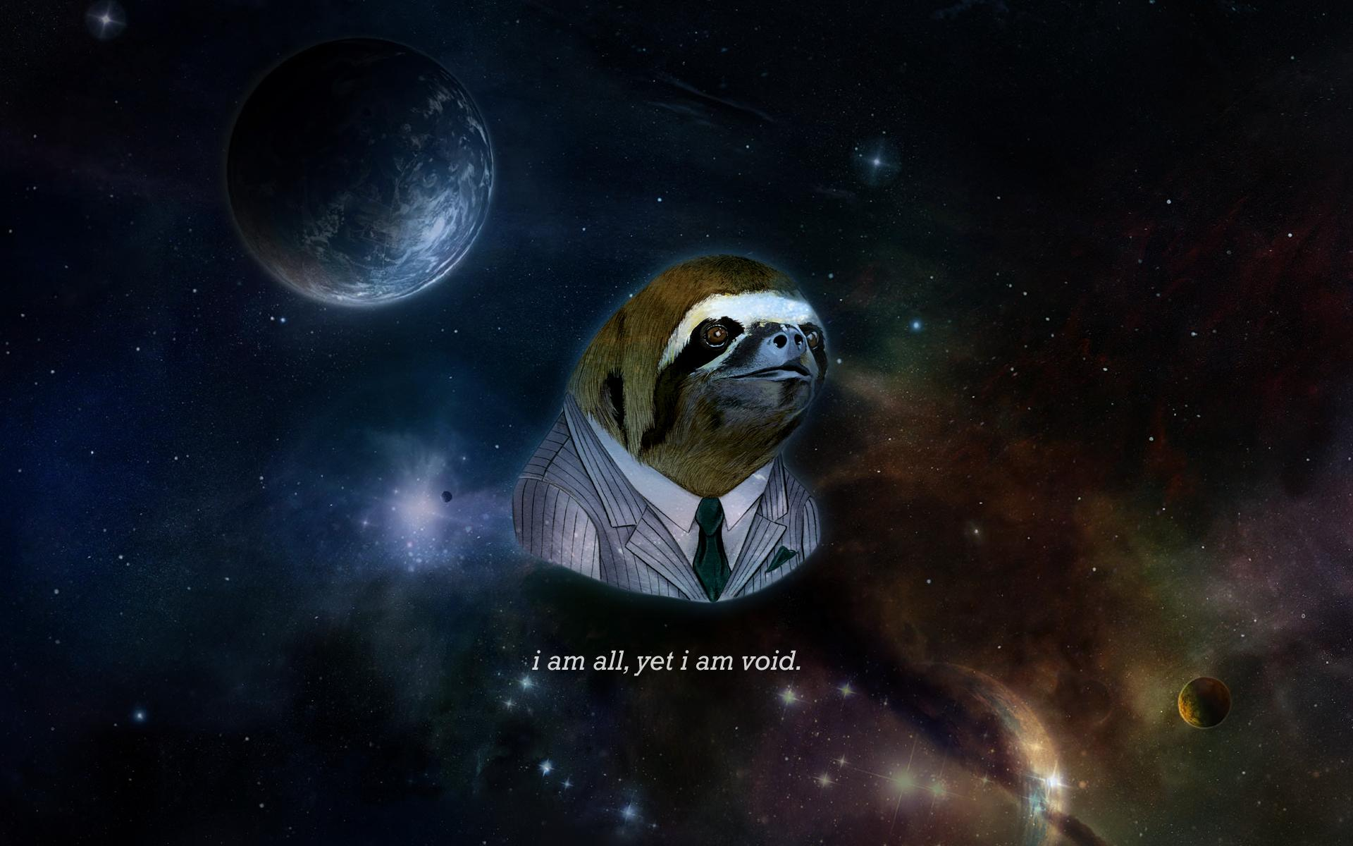 Cosmic sloth my variant of the business sloth desktop background 1920x1200