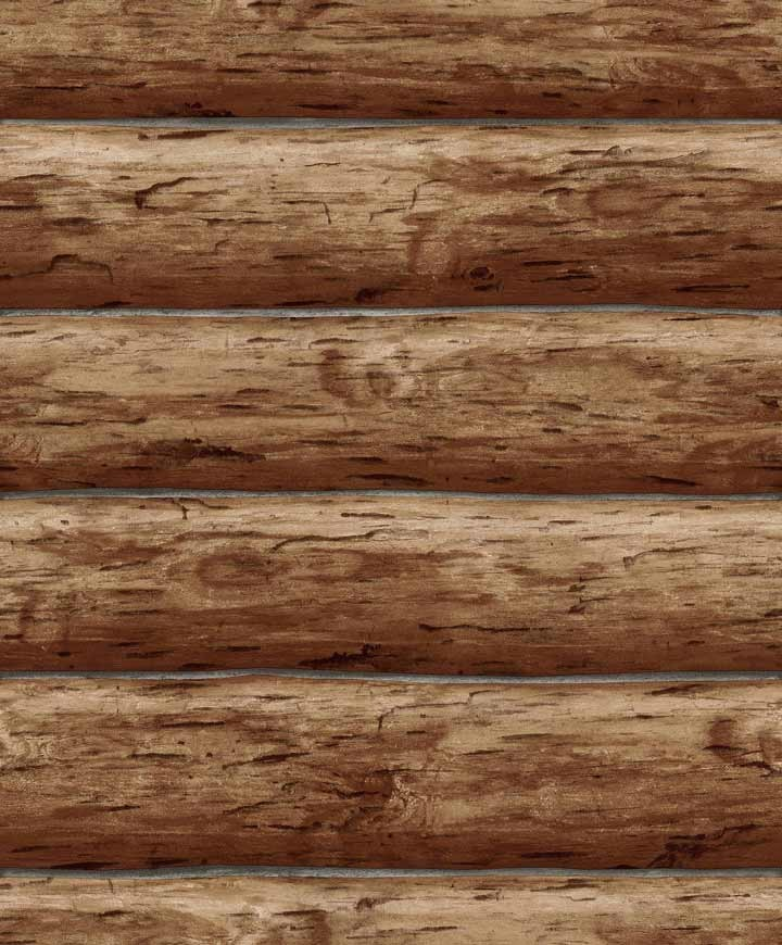 Details about Wallpaper Designer Rustic Log Cabin Brown Wood Log Wall 720x870