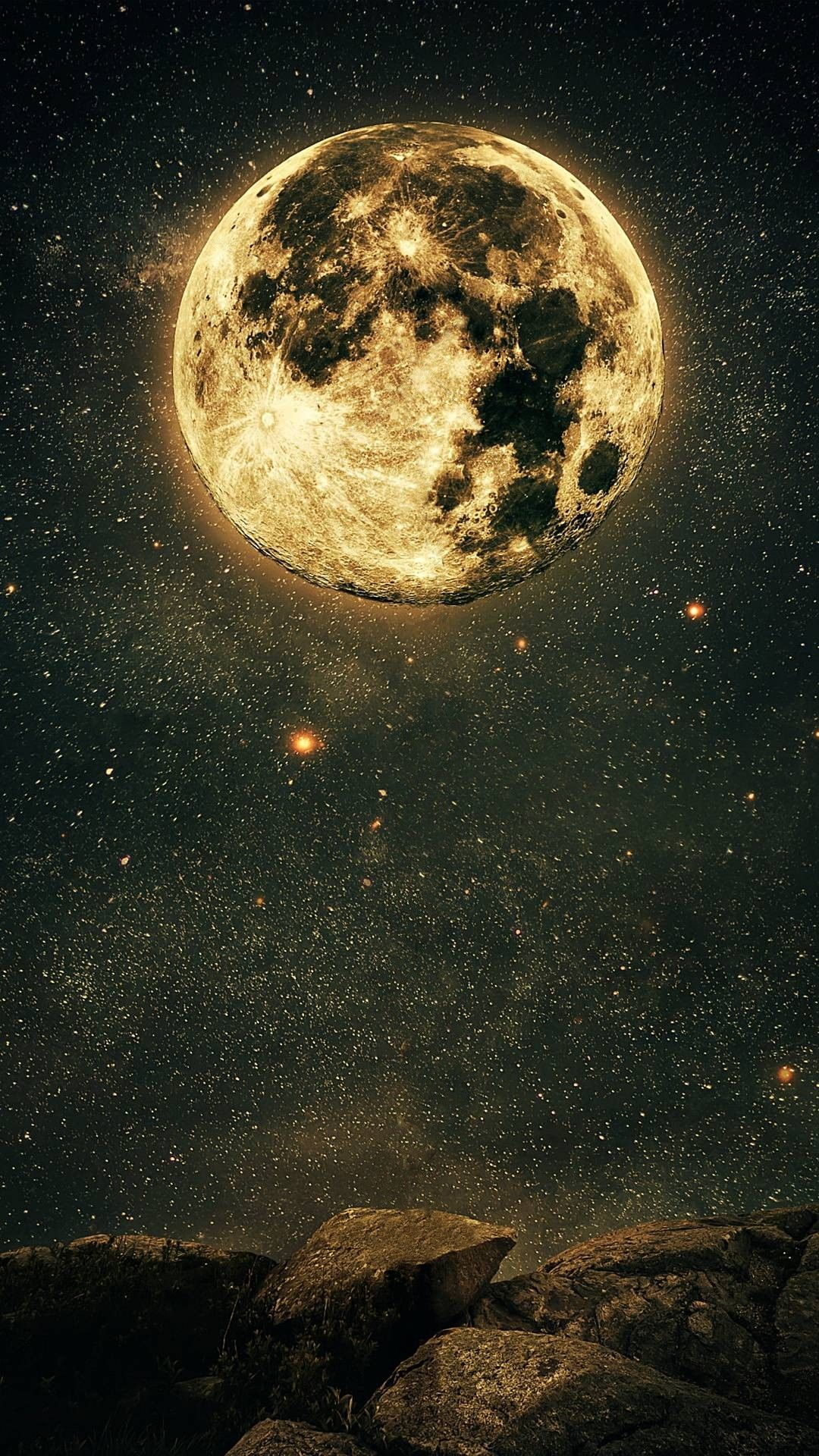 Full Moon and Starry Night Wallpaper Wallpapers in 2019 Starry 1080x1920