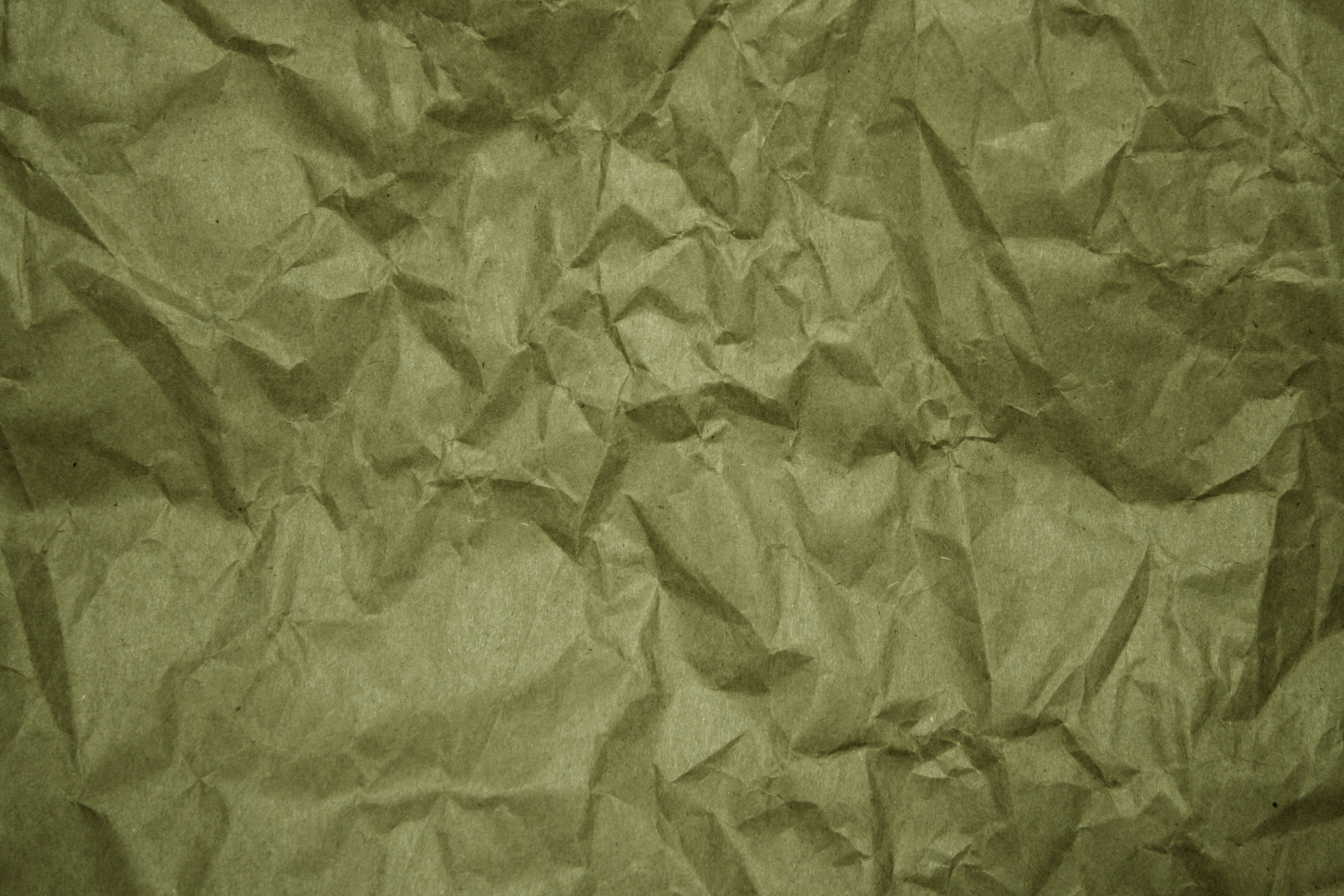 Crumpled Olive Green Paper Texture Picture 3888x2592
