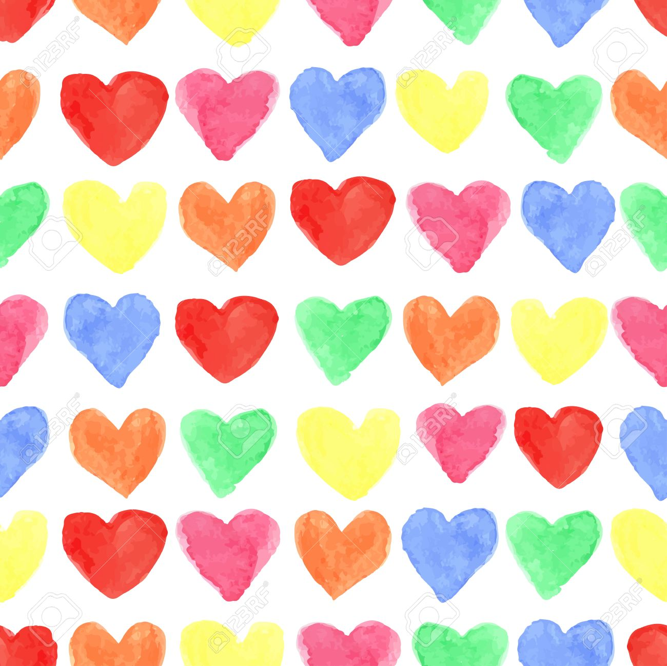 Watercolor Artistic Colored Hearts Seamless Pattern Hand Drawing 1300x1298