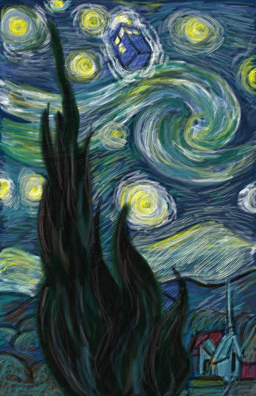 Starry Night Tardis Wallpaper Tardis starry night by msgabc 500x772