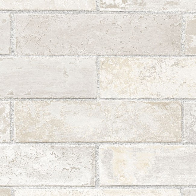 Off White Cream Grey Beige Brick with Grey Grout Wallpaper LL29532 650x650