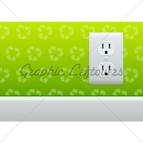 Electric Outlet On Green Recycle Symbol Wallpaper 500x500