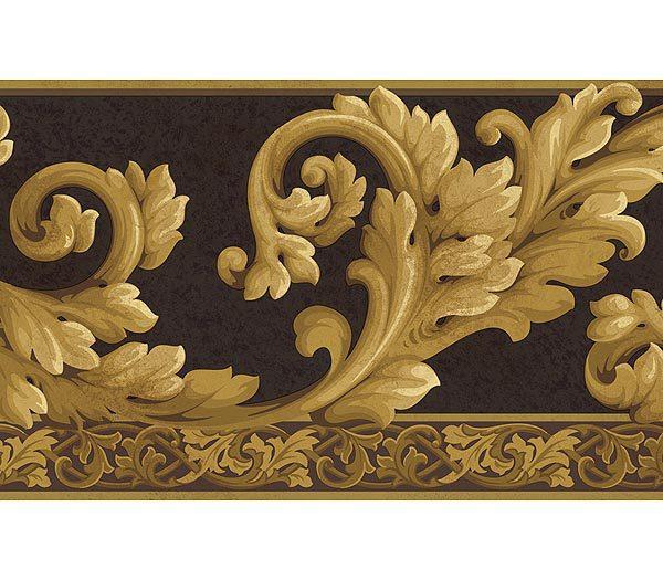 Acanthus Wave Black Gold Wallpaper Border   Textures Wallpaper 600x525
