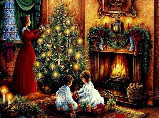 free christmas fireplace wallpaper 2015   Grasscloth Wallpaper 520x387